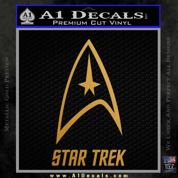 Star Trek Full Emblem Decal Sticker Gold Metallic Vinyl