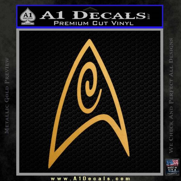 Star Trek Insignia Engineering Decal Sticker Gold Metallic Vinyl