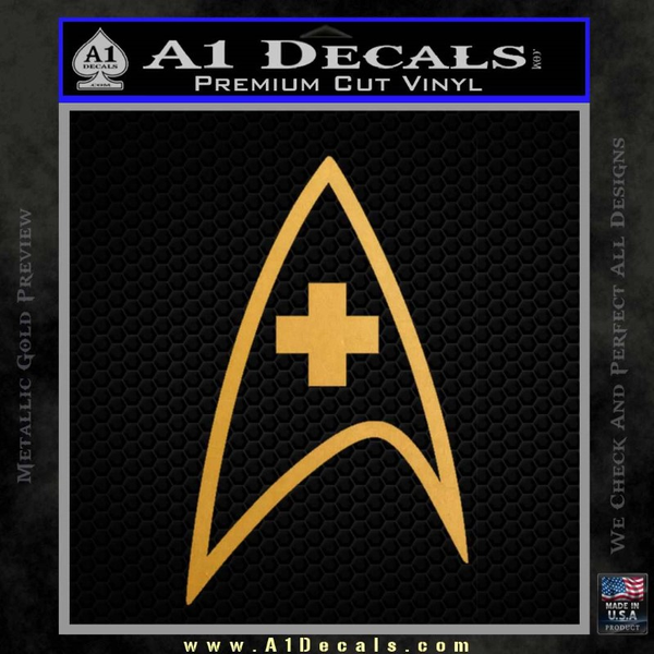 Star Trek Insignia Medical Decal Sticker Gold Metallic Vinyl