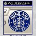 Starbucks Guns and Coffee Decal Sticker Blue Vinyl 120x120