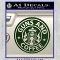Starbucks Guns and Coffee Decal Sticker Dark Green Vinyl 120x120