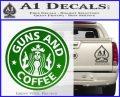 Starbucks Guns and Coffee Decal Sticker Green Vinyl Logo 120x97