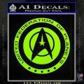 Starfleet Seal Alternate Reality Decal Sticker Lime Green Vinyl 120x120
