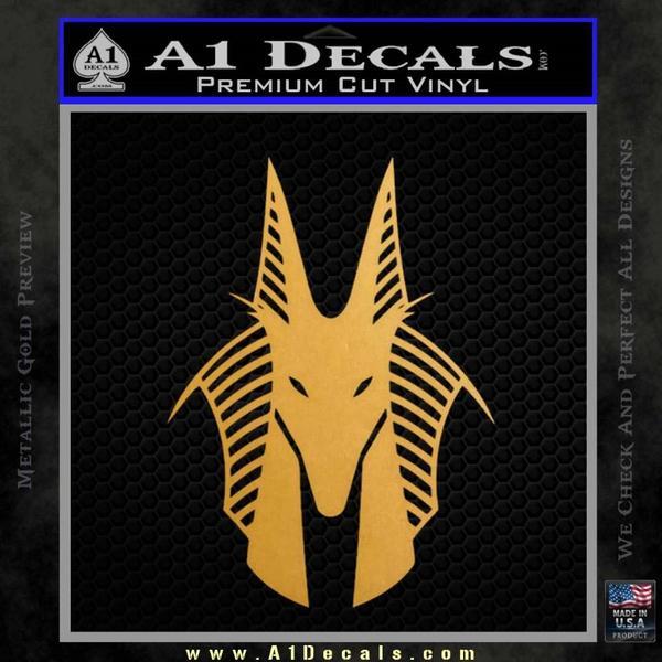 Stargate Anubis Head Decal Sticker Gold Metallic Vinyl Black