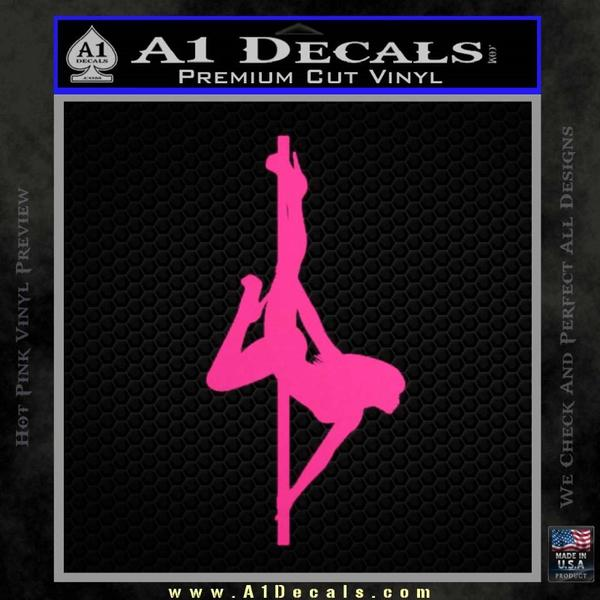 Stripper Pole Decal Sticker D2 Neon Pink Vinyl Black