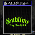 Sublime Long Beach California Decal Sticker Neon Green Vinyl 120x120