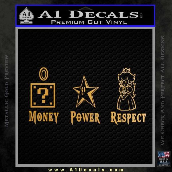 Super Mario Princess Star Money Power Respect D2 Decal Sticker Gold Metallic Vinyl Black
