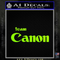 Team Canon D1 Decal Sticker Neon Green Vinyl 120x120
