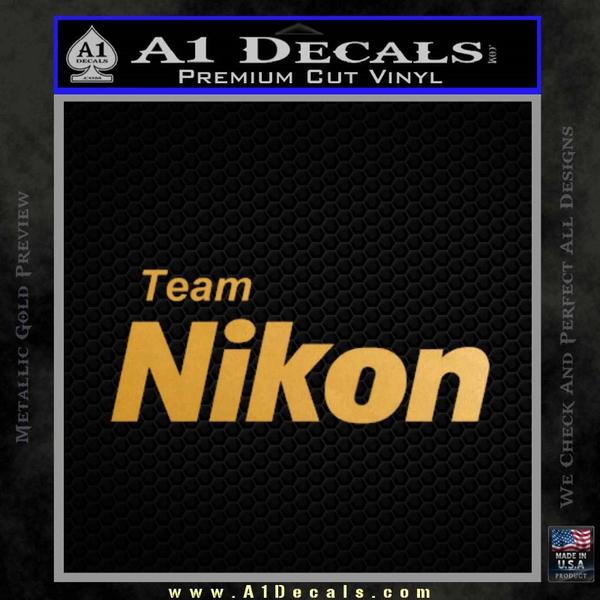 Team Nikon D1 Decal Sticker Gold Metallic Vinyl