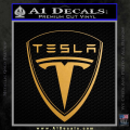 Tesla Motors Emblem Decal Sticker Gold Metallic Vinyl 120x120