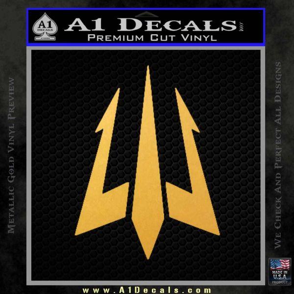 Trident Decal Sticker Gold Vinyl