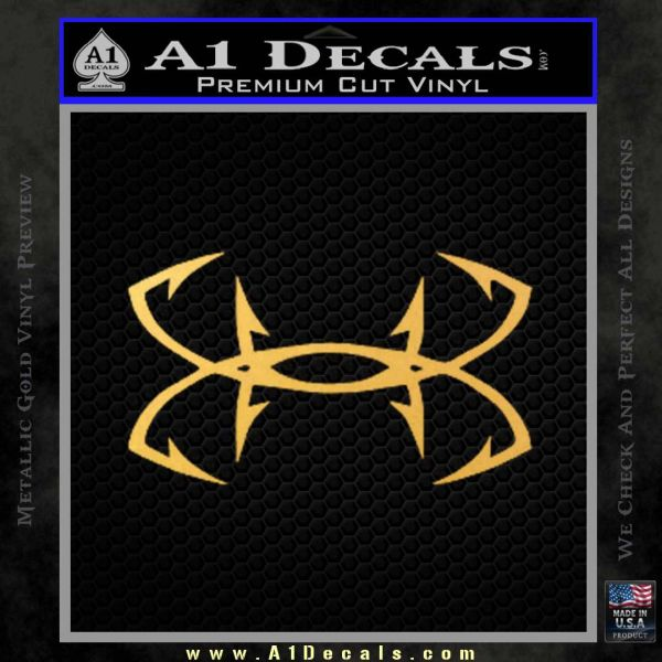 Under Armor Fishing Hooks Decal Sticker Gold Vinyl