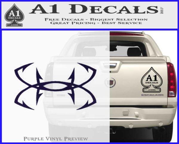 "Under Armour Fishhooks 6/"" White Vinyl Car Truck Decal Sticker Fishing Sports"