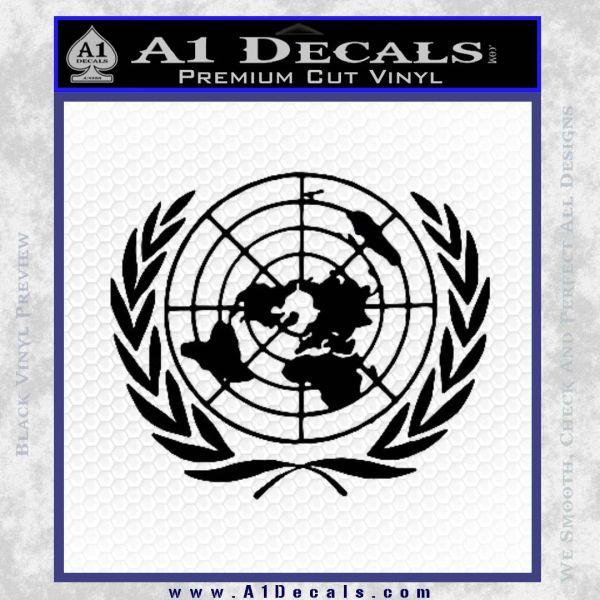 United Nations Crest Logo Emblem D1 Decal Sticker Black Vinyl