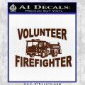 Volunteer Fire Fighter Decal Sticker BROWN Vinyl 120x120