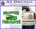 Volunteer Fire Fighter Decal Sticker Green Vinyl Logo 120x97