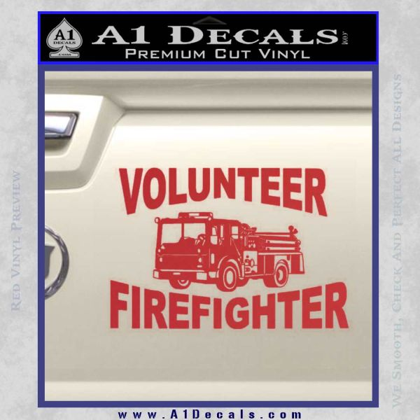 Volunteer Fire Fighter Decal Sticker Red