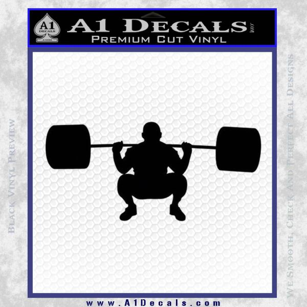 Weightlifting Silhouette Decal Sticker Black Vinyl