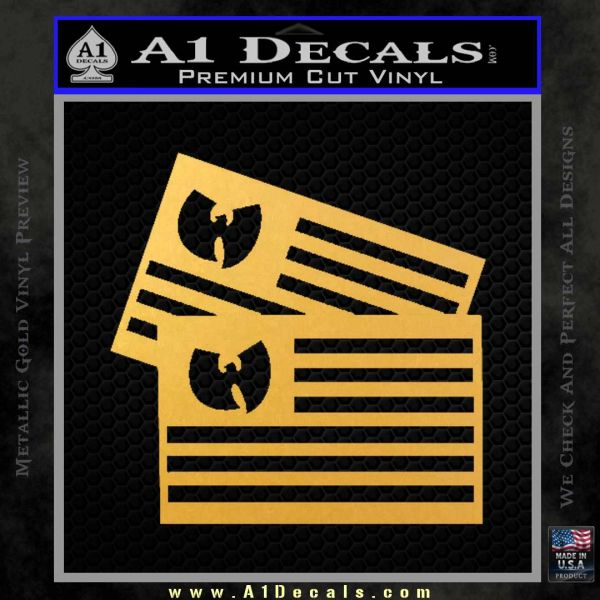 Wu Tang Flag Decal Sticker Wunited States Of America Gold Vinyl