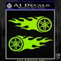 Yamaha Tuning Fork Flames 2Pk Decal Sticker Lime Green Vinyl 120x120