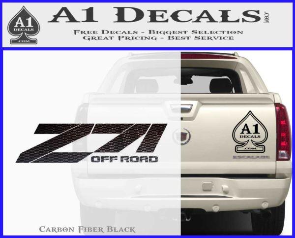 Z71 decal sticker chevy carbon fiber black vinyl 120x97