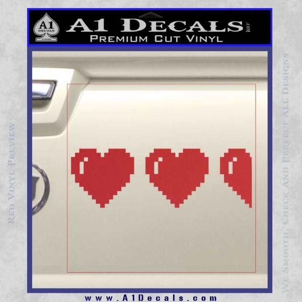 Zelda Decal Sticker 8 Bit Hearts Red
