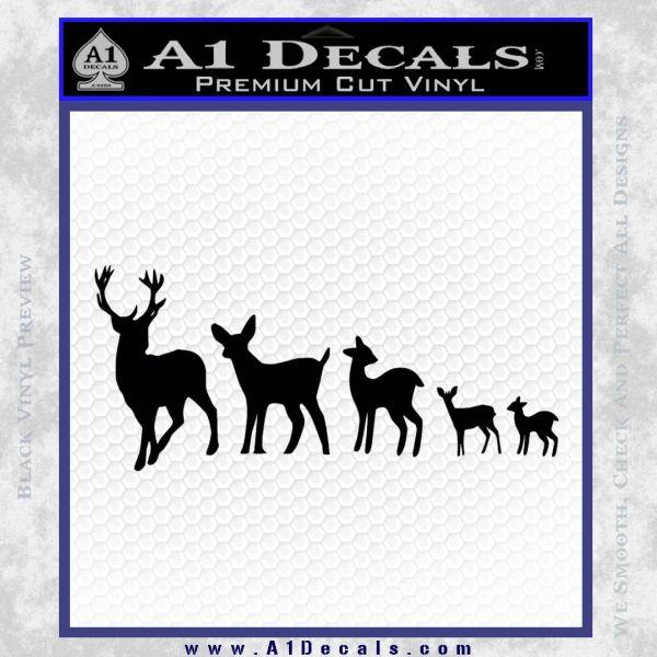 Deer Family Decal Sticker Black Vinyl