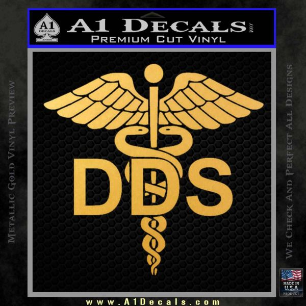 Dentist Dentistry DDS Symbol Decal Sticker Gold Vinyl