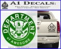 Department Of Awesome Decal Sticker Green Vinyl Logo 120x97