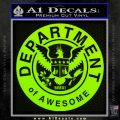 Department Of Awesome Decal Sticker Lime Green Vinyl 120x120