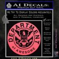 Department Of Awesome Decal Sticker Pink Emblem 120x120