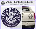 Department Of Awesome Decal Sticker PurpleEmblem Logo 120x97