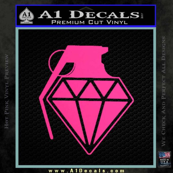 Diamond JDM Grenade D1 Decal Sticker Pink Hot Vinyl