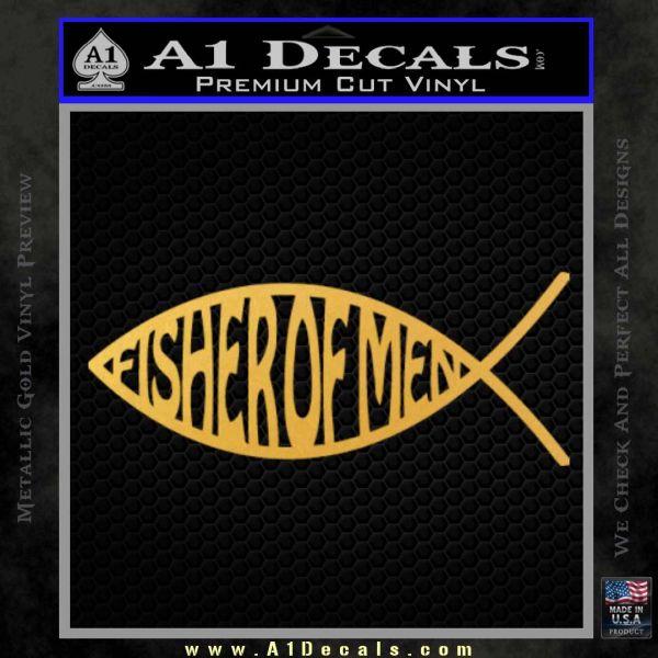 Fisher Of Men Jesus Fish Decal Sticker Gold Vinyl