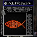 Fisher Of Men Jesus Fish Decal Sticker Orange Emblem 120x120