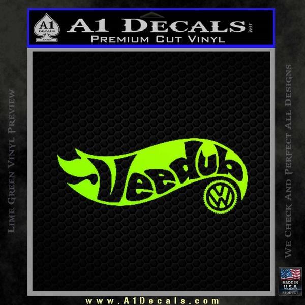 Hotwheels Vee Dub VW Volkswagen D1 Decal Sticker Neon Green Vinyl Black