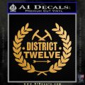 Hunger Games Decal Sticker District 12 Gold Metallic Vinyl Black 120x120