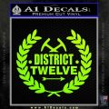Hunger Games Decal Sticker District 12 Neon Green Vinyl Black 120x120