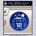 Hunger Games District 12 Circle New Decal Sticker Blue Vinyl Black 120x120