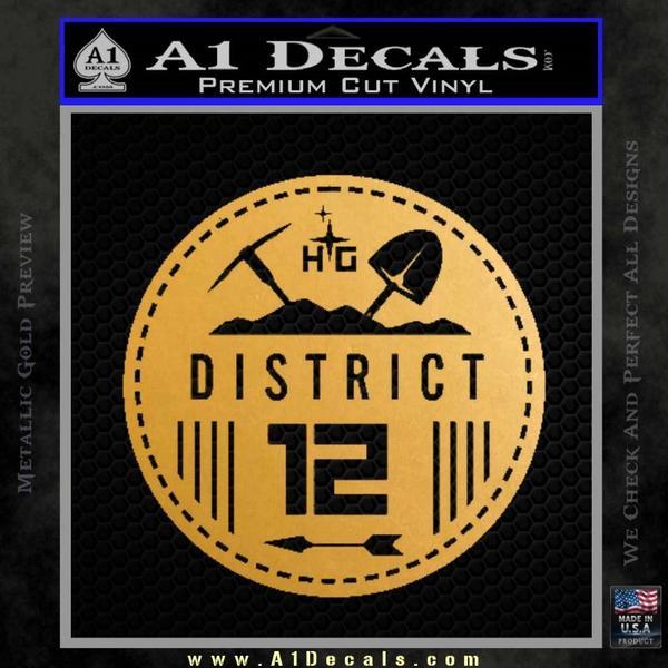 Hunger Games District 12 Circle New Decal Sticker Gold Metallic Vinyl Black