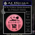 Hunger Games District 12 Circle New Decal Sticker Soft Pink Emblem Black 120x120