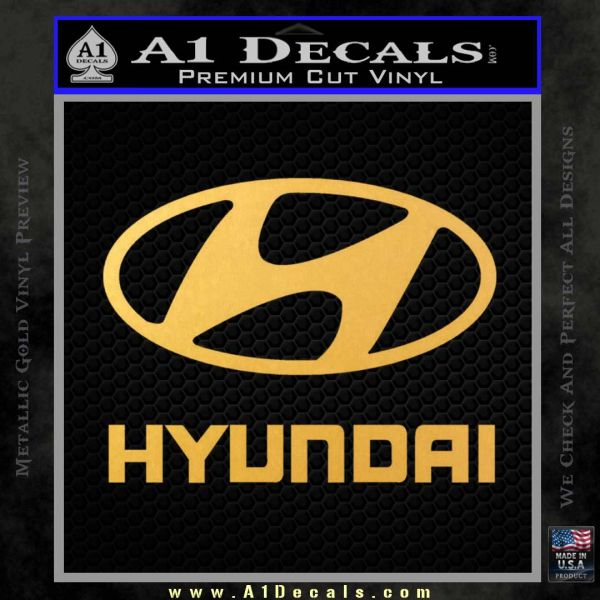 Hyundai Decal Sticker Full Gold Vinyl