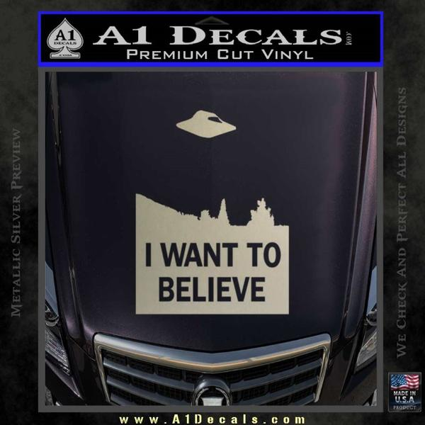 I want to believe ufo x files decal sticker metallic silver vinyl black 120x120