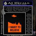 I Want To Believe UFO X files Decal Sticker Orange Emblem Black 120x120