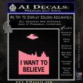 I Want To Believe UFO X files Decal Sticker Soft Pink Emblem Black 120x120