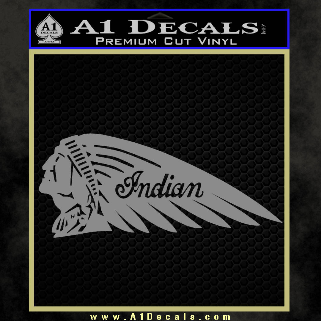 Indian Motorcycle Mirrored Decal Sticker grey