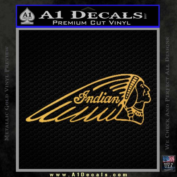 Indian Motorcycles D2 Decal Sticker Gold Vinyl