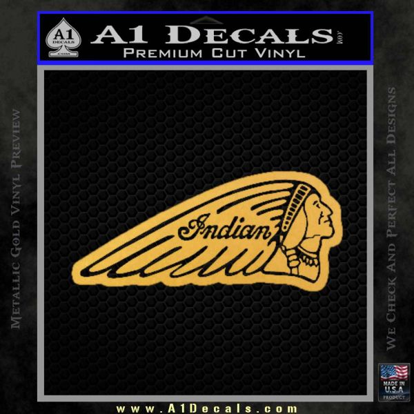 Indian Motorcycles D3 Decal Sticker Gold Vinyl