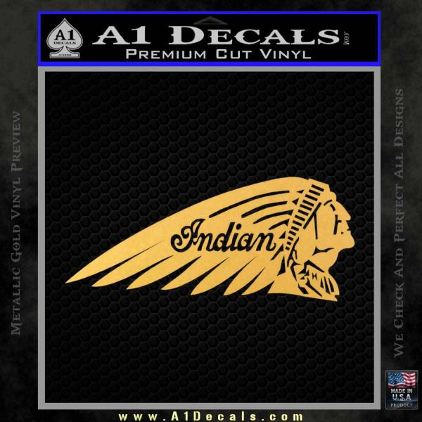 Indian Motorcycles Decal Sticker Headdress Gold Vinyl