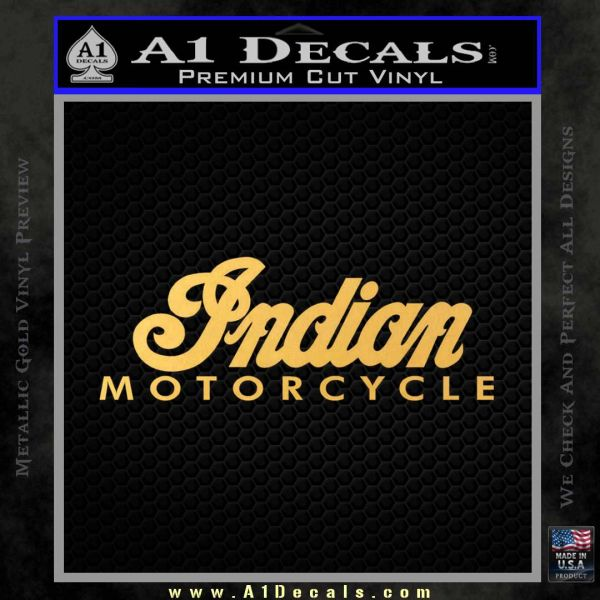 Indian Motorcycles Decal Sticker Wide Gold Vinyl